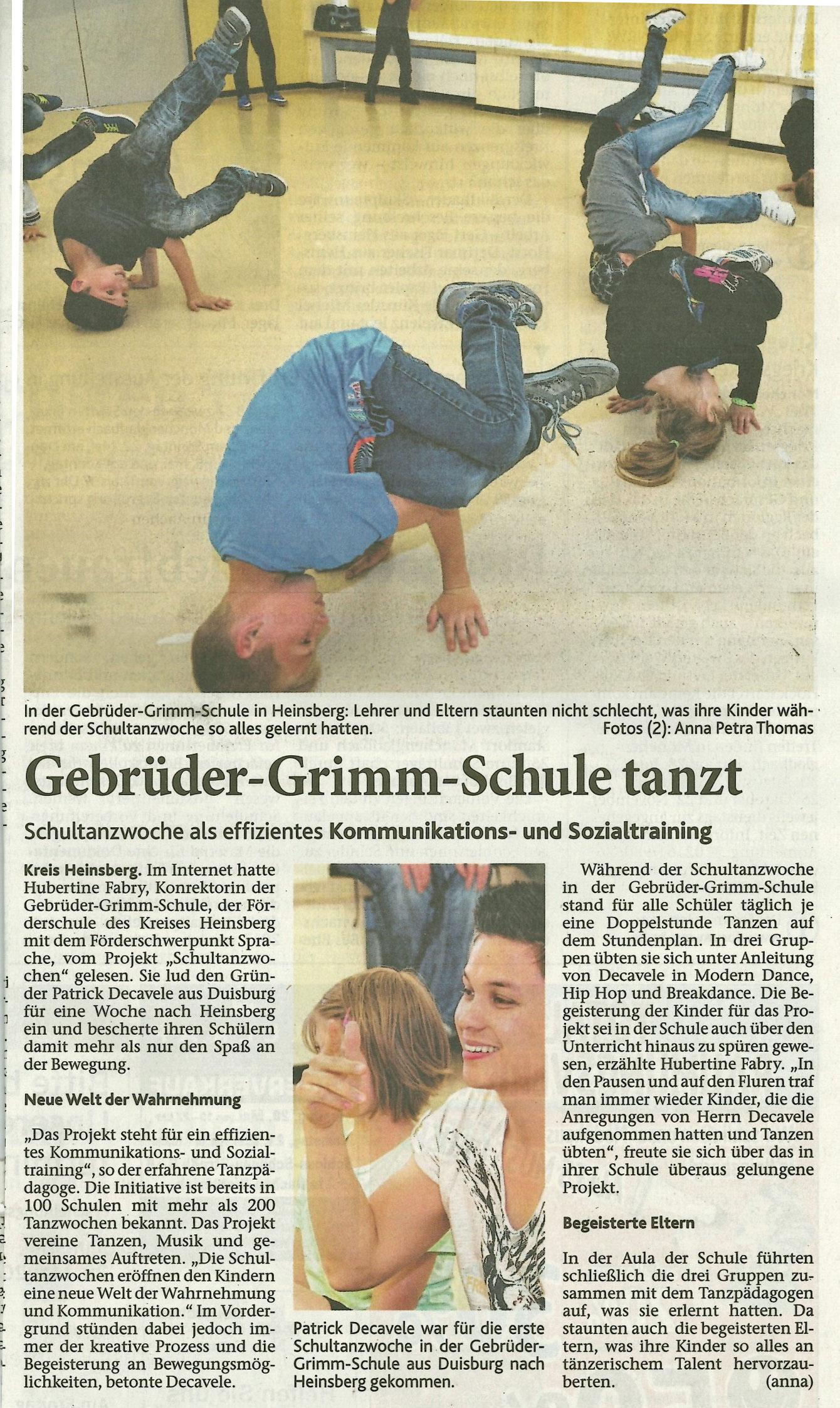 Schultanzwoche-Heinsberg-Zeitung